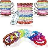Pack of 100 Wrist Key Holder Keychain Wrist Coil Keychain Coil Bracelets Stretchy Keychain Key Chain Bracelet for Office Work