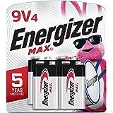 Energizer Max 9V Batteries, Premium Alkaline 9 Volt Batteries (4 Battery Count)