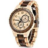Bewell 木製腕時計 メンズ 復古 日本製クオーツ アナログ腕時計 日付き 夜光 天然木 ウッドウォッチ 軽量防水 男性用 誕生日ギフト (メープルと黒檀)