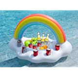 Jasonwell Inflatable Rainbow Cloud Drink Holder Floating Beverage Salad Fruit Serving Bar Pool Float Party Accessories Summer