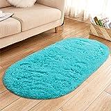 YJ.GWL High Pile Soft Shaggy Turquoise Blue Rug for Bedroom Gilrs Room Mermaid Room Decor Fluffy Area Rugs Kids Anti-Slip Nur