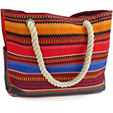 OdyseaCo - Beach Bag for Women, Large Canvas Tote Bag