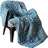 RAJRANG Quilted Patchwork Cotton Throw Blanket - Indigo Blue Vintage Reversible Throw Indian Decorative Super Soft & Warm Bla