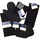 Kitchen Towel Set with 2 Quilted Pot Holders, Oven Mitt, Dish Towel, Dish Drying Mat, 2 Microfiber Scrubbing Dishcloths (Blac