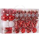 Sea Team 73-Pack Assorted Shatterproof Christmas Balls Christmas Ornaments Set Decorative Baubles Pendants with Reusable Hand