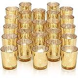 DARJEN 24Pcs Gold Votive Candle Holders for Table - Mercury Glass Votives Gold Candle Holder - Tealight Candle Holder for Wed