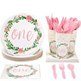 Juvale Disposable Party Dinnerware Set - Serves 24-1st Birthday Party Supplies for Kids Birthdays, Floral Design - Includes P