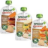 Sprout Organic Baby Food Pouches Stage 3, Root Veg Apple w/ Beef, Creamy Veg w/ Chicken, & Garden Veg Brown Rice w/ Turkey Va