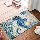 Watercolor Ocean Hippocampus Door Mat Indoor Outdoor Non-Slip Rubber Entrance Mats Rugs for Bathroom/Front Doormat(Sea Animal