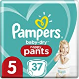 Pampers Baby Dry Nappy Pants (12kg to 17kg) Size 5 Walker, 37 count