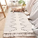 LEEVAN Moroccan Cotton Area Rug Hand-Woven Cream and Black Chic Diamond Tassels Throw Rugs Door Mat Machine Washable Fringe f
