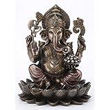 "Veronese Design Ganesha Sitting ON Lotus Statues 10.24"" Tall"