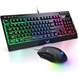 Gaming Keyboard and Mouse Combo Backlit, TopMate Rainbow LED Keyboard with 6400DPI Mouse Programmable, Wired Keyboard Mice fo