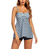 Avidlove Women's Sexy Retro Sailor Stripe Tankini Swimsuit Spaghetti with Trunks