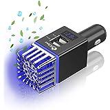 Car Air Purifier Ionizer 3in1 - Anti-Microbial Car Deodorizer Dual USB 3.0 Quick Charger 12V Plug in Ionic Ozone Car Air Fres