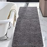 LOCHAS Luxury Bathroom Rug Grey Bath Mat Runner 24 x 60 Inch, Shaggy Washable Non Slip Bath Rugs for Bathroom Shower, Soft Pl