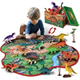 GILOBABY 2 in 1 Dinosaur Toy Storage Box & Activity Playmat with 10 Dinosaurs, 2 Trees and 2 Rocks, Pretend Play Gifts STEM D