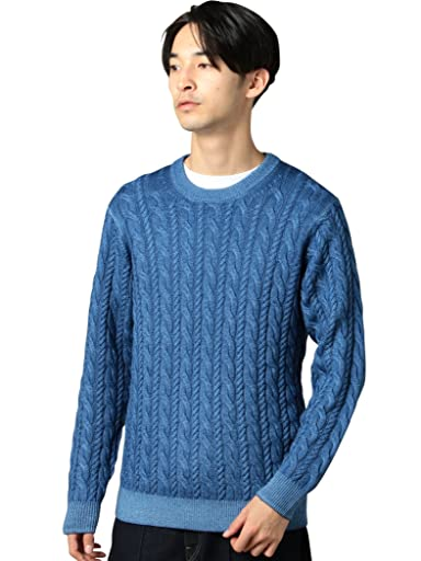 Wool Cable Crewneck Sweater 1213-105-3232: Cobalt