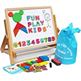 Wooden Easel for Children Foldable-Double Magnetic Boards Shapes Letters Numbers Paper Roll Kids Art-Table Top Magnetic Board