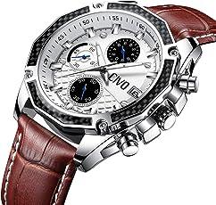 [チーヴォ]CIVO 腕時計 メンズレザーウオッチ クロノグラフ防水 日付カレンダー アナログクオーツ時計 ビッグフェイス ビジネス カジュアル 男性用腕時計