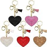 5 Pieces Bling Rhinestone Love Heart Keychains Glitter Crystal Love Heart Design Tassel Keychains Key Rings for Women Girls