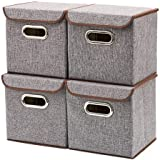 Storage Bins [4-Pack] EZOWare Linen Fabric Foldable Basket Cubes Organizer Boxes Containers Drawers with Lid for Office Nurse