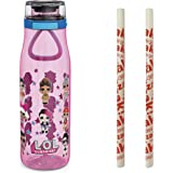 Zak Designs L.O.L. Surprise! Plastic Water Bottle BPA-Free with Push Button Action, Locking Lid, and Portable Carry Loop, Inc