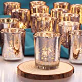 DEVI Silver Votive Candle Holders(24pcs) | Wedding Decorations for Table Centerpieces | Valentines Day Decorations | Annivers