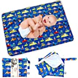 """Flockthree Waterproof Baby Changing Pad with Storage Bag (28.7"""" X 19.7"""") Washable Wipeable Reusable Leak Proof Diaper Travel"""