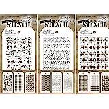 Tim Holtz - Mini Layering Stencils - Sets 7, 8, & 9 - 9 Mini Stencils - Numeric, Houndstooth, Rings, Honeycomb, Schoolhouse,