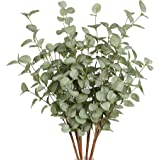 VGIA 6 Pcs Artificial Greenery Stems Eucalyptus Leaf Spray in Green Silk Plastic Plants Floral Greenery Stems for Home Party