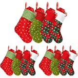 Townshine Mini Christmas Stockings, 9 inch Small Glitter Round Dots Snowflake Printed Felt Cuff Stocking Gift Card Bags Holde