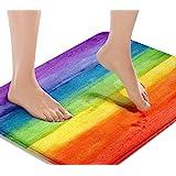 Britimes Bath Mats for Bathroom, Bathroom Mats Rugs No Silp, Colorful Stripe Rainbow Washable Cover Floor Rug Carpets Floor M