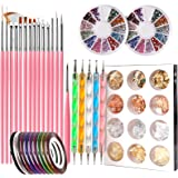 Nail Pen Designer, Teenitor Stamp Nail Art Tool with 15pcs Nail Painting Brushes, Nail Dotting Tool, Nail Foil, Manicure Tape