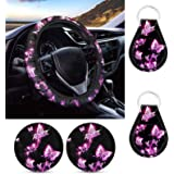 WELLFLYHOM Pink Butterfly Steering Wheel Cover for Women Pattern Set of 5 Pack with Auto Keychain,Car Coasters Absorbent Rubb