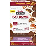 SlimFast Keto Fat Bomb Snacks, Pantry Friendly Peanut Butter Cup and Caramel Nut, Variety Pack, 32 Count