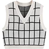 SheIn Women's V Neck Plaid Print Sweater Vest Sleeveless Rib-Knit Crop Tank Tops