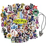 Kilmila JoJo's Bizarre Adventure Stickers 100Pcs ( with Arrow Requiem Pendant JoJo Necklace).Anime JJBA Stickers Cartoon Lapt