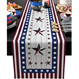 July 4th Independence Day Cotton Linen Table Runner Dresser Scarves,American USA Flag Day Theme Stars Red Stripe Table Runner