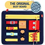 Toddler Busy Board - Montessori Sensory Activity Board for Toddlers - Develops Basic and Fine Motor Skills - Learn to Dress T