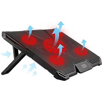 冷却パッド ノートパソコン 冷却ファン 冷却台ノートPCクーラー クール 五つ超静音冷却ファン7段階角度調整 2口USBポート接続 17インチ型まで対応 ノートパソコン 風量調節可