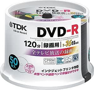 【Amazon.co.jp限定】TDK 録画用DVD-R デジタル放送録画対応(CPRM) 1-16倍速 インクジェットプリンタ対応(ホワイト・ワイド) 50枚スピンドル DR120DPWC50PU-AM