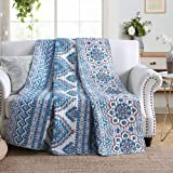 NEWLAKE Quilted Throw Blanket for Bed Couch Sofa, Boho Chic Style, 60X78 Inch