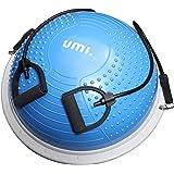 [Amazonブランド] Umi.(ウミ) バランスボール半円 バランスドーム バランスボール 半球 直径60cm 耐荷重300kg 重量5kg レジスタンスバンド付き フットインフレーターポンプ付き