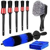 Car Wheel & Tire Brush Set, 5 Size Car Detailing Brush Kit, 17inch Long Soft Bristle Wheel Rim Brush for Cleaning Rim Interio