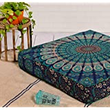 Indian Hippie Mandala Floor Pillow Cover Square Ottoman Pouf Cover Daybed Oversized Cotton Cushion Cover with Heavy Duty Zipp