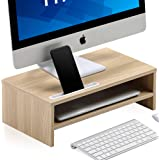 FITUEYES Monitor Stand Riser with Phone Holder Slot, 2 Tiers Laptop Stand with Storage Shelf, Home Office Desk Organizer, Oak