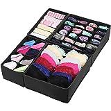 Simple Houseware Closet Underwear Organizer Drawer Divider 4 Set, Black