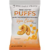 The Daily Crave Beyond Puffs, Vegan Cheddar, 4 Oz (Pack of 8) Plant Based Protein Snack, Dairy and Soy-Free, Gluten-Free, Non
