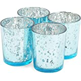 Juvale Blue Tealight Candle Holder, Mercury Glass Décor (2 x 2.7 in, 4 Pack)